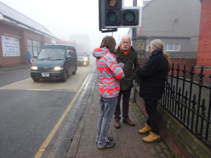 Cllr Graham Timms speaking with concerned local residents